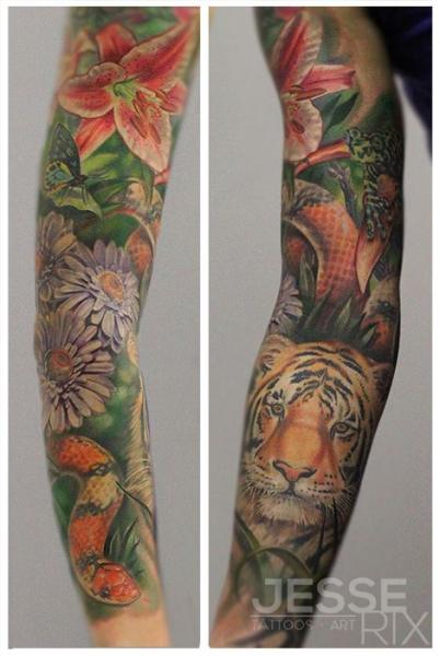 Snake Flower Tiger Sleeve Tattoo by Jesse Rix Tattoo Art