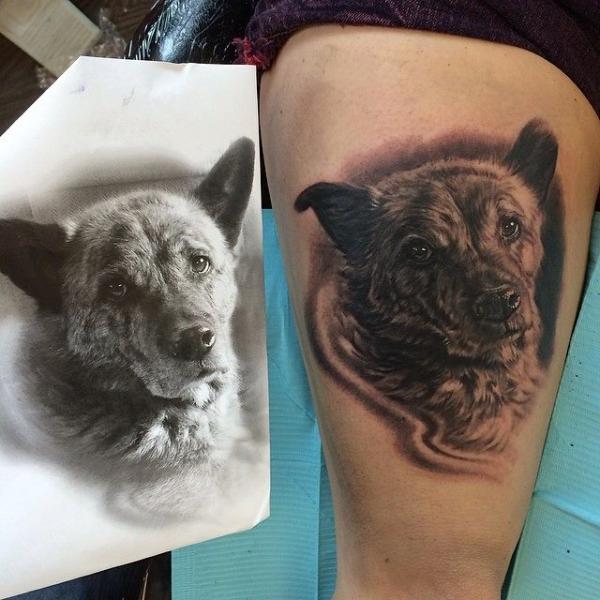 Realistic Dog Thigh Tattoo by Jesse Rix Tattoo Art
