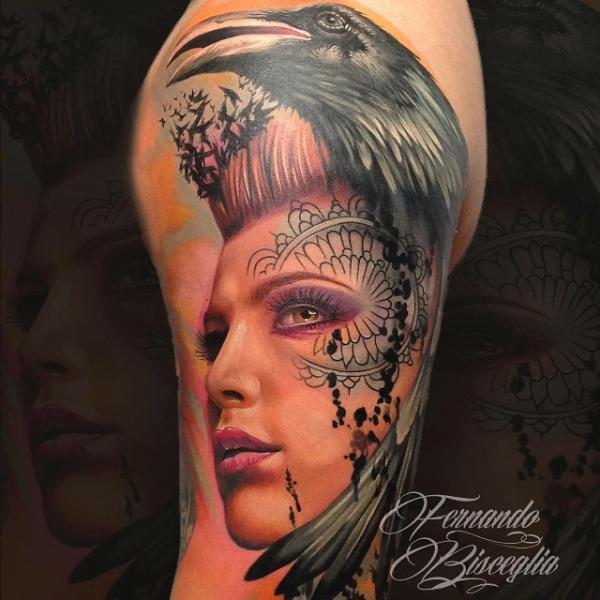Shoulder Arm Women Crow Tattoo by Forever Tattoo