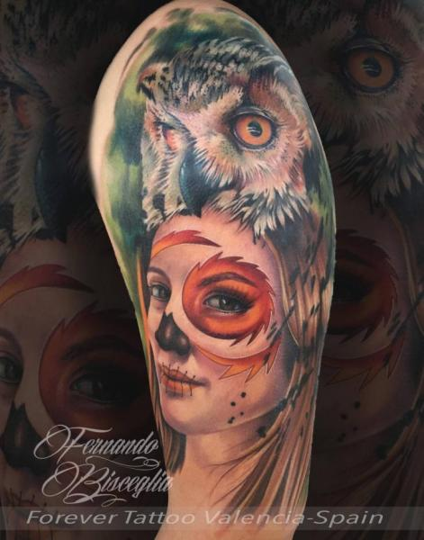 Arm Women Owl Tattoo by Forever Tattoo