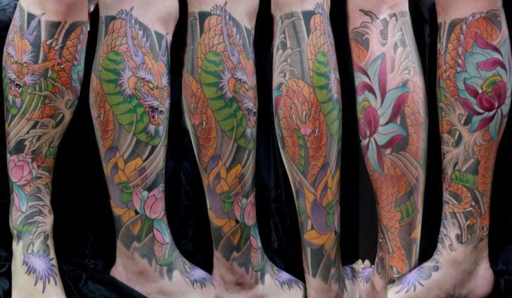 Calf Leg Japanese Dragon Tattoo by Forever Tattoo