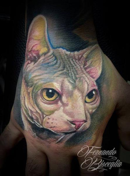 Realistic Hand Cat Tattoo by Forever Tattoo