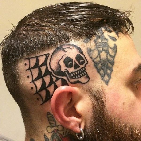 Old School Skull Head Tattoo by Forever Tattoo