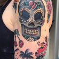 Shoulder Arm Old School Skull tattoo by Forever Tattoo