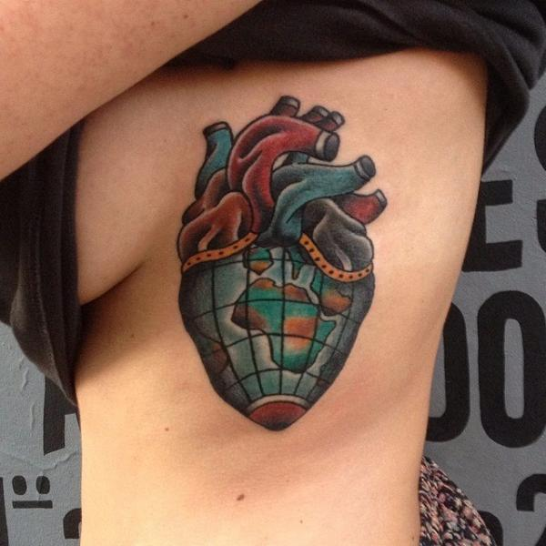 Old School Heart Side Tattoo by Forever Tattoo