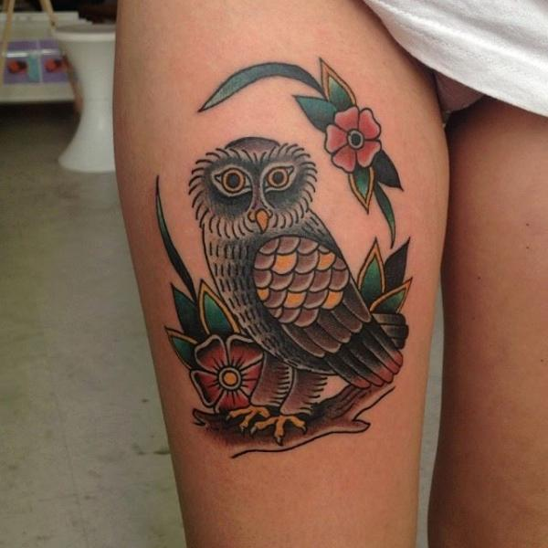 Old School Owl Thigh Tattoo by Forever Tattoo