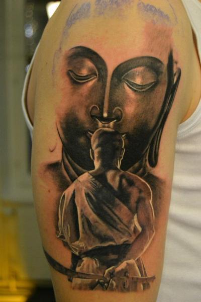 Arm Buddha Samurai Tattoo by 2nd Skin