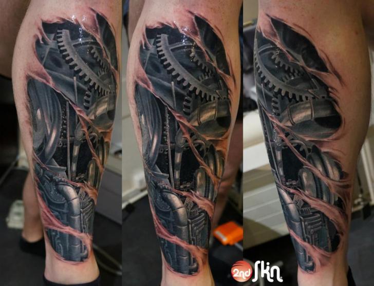 Biomechanical Calf Tattoo by 2nd Skin