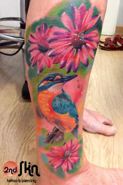 Realistic Calf Flower Bird Tattoo by 2nd Skin