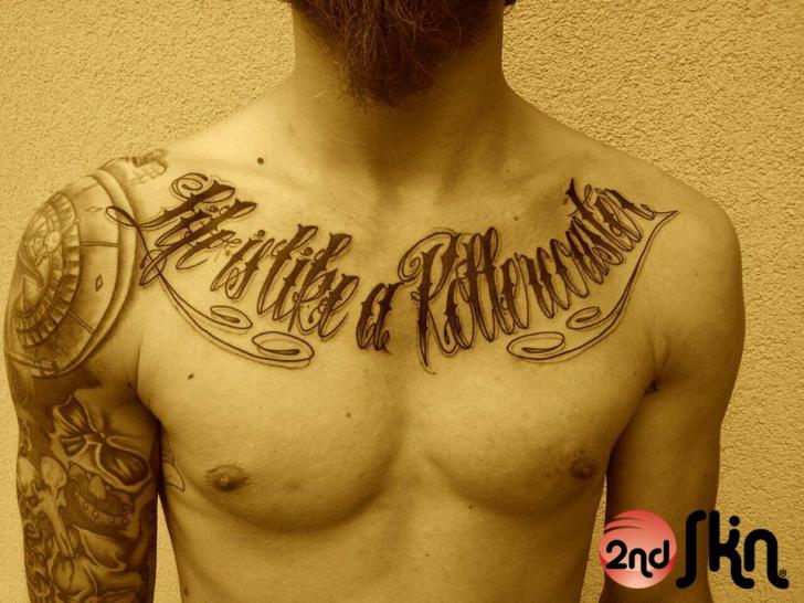 Chest Lettering Fonts Tattoo by 2nd Skin