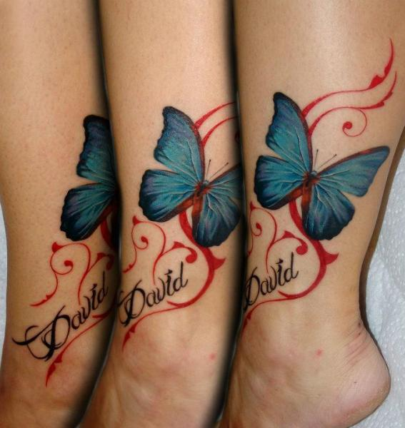 Foot Butterfly Tattoo by 2nd Skin