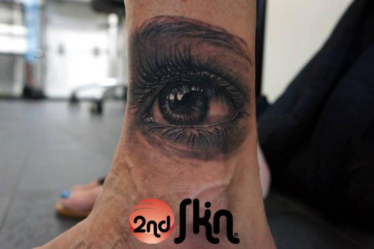 Realistic Foot Eye Tattoo by 2nd Skin