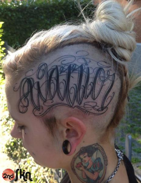 Lettering Head Tattoo by 2nd Skin