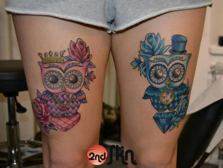 Leg Owl Tattoo by 2nd Skin