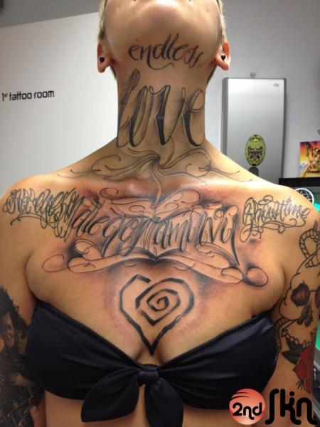 Shoulder Lettering Neck Chin Breast Tattoo by 2nd Skin