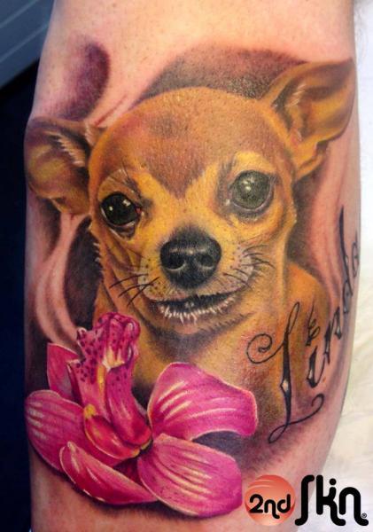 Realistic Flower Dog Tattoo by 2nd Skin