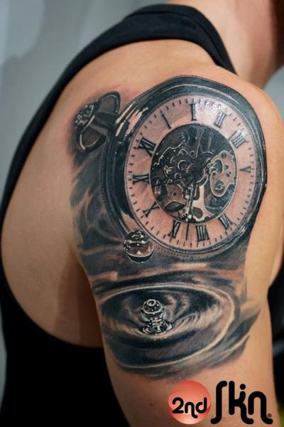 Shoulder Realistic Clock Tattoo by 2nd Skin