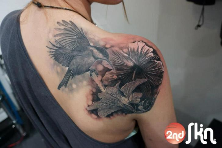 Shoulder Realistic Flower Hummingbird Tattoo by 2nd Skin