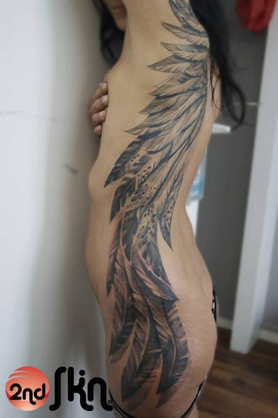 Side Butt Wings Tattoo by 2nd Skin