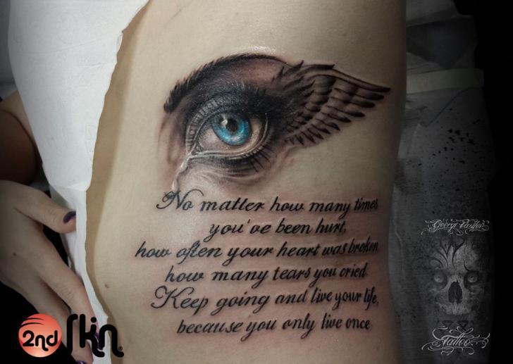 Side Lettering Eye Wings Tattoo by 2nd Skin