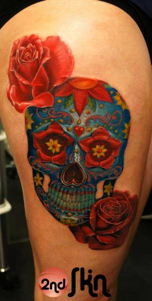 Flower Skull Thigh Tattoo by 2nd Skin