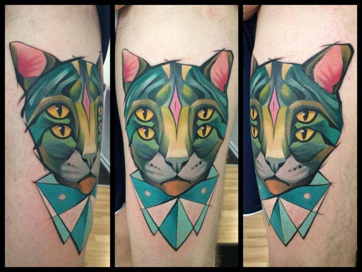 Arm Fantasy Cat Tattoo by Mefisto Tattoo Studio