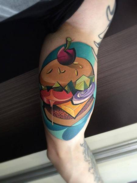 Arm Hamburger Tattoo by Mefisto Tattoo Studio