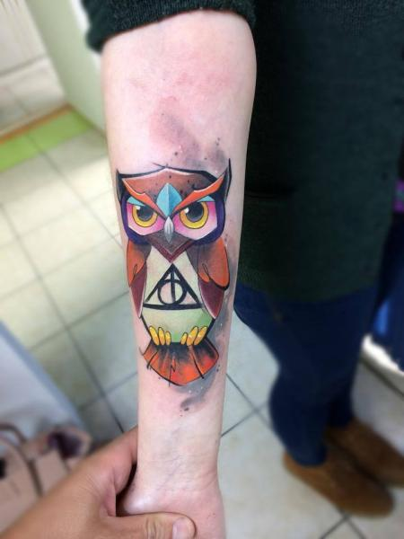 Arm Owl Tattoo by Mefisto Tattoo Studio