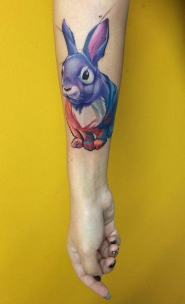 Arm Rabbit Tattoo by Mefisto Tattoo Studio