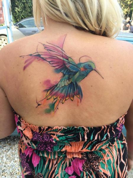 Back Hummingbird Tattoo by Mefisto Tattoo Studio