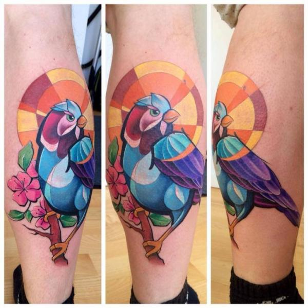 Calf Bird Tattoo by Mefisto Tattoo Studio