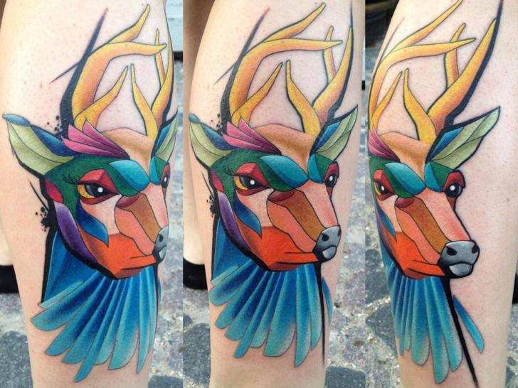 Calf Deer Tattoo by Mefisto Tattoo Studio