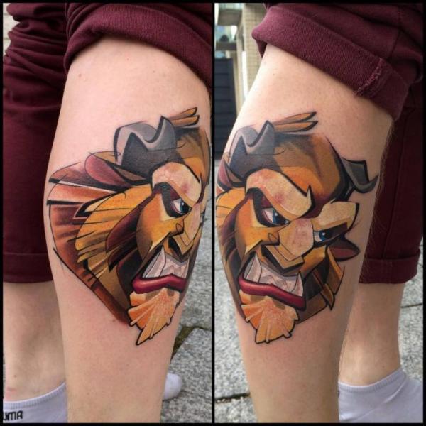 Calf Lion Tattoo by Mefisto Tattoo Studio