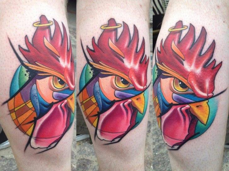 Calf Rooster Tattoo by Mefisto Tattoo Studio