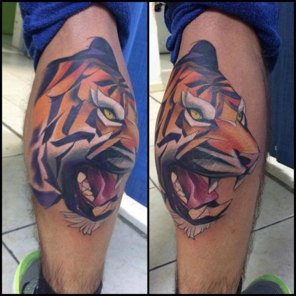 Calf Tiger Tattoo by Mefisto Tattoo Studio