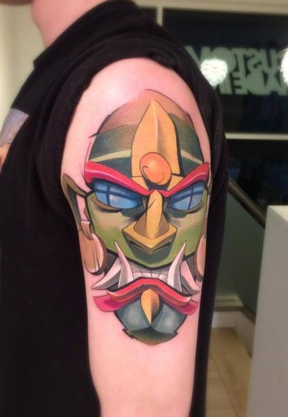 Shoulder Mask Demon Tattoo by Mefisto Tattoo Studio