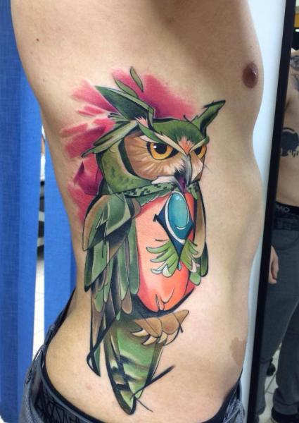 Side Owl Tattoo by Mefisto Tattoo Studio