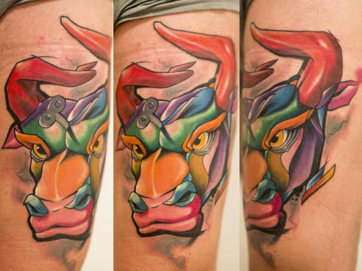 Bull Thigh Tattoo by Mefisto Tattoo Studio