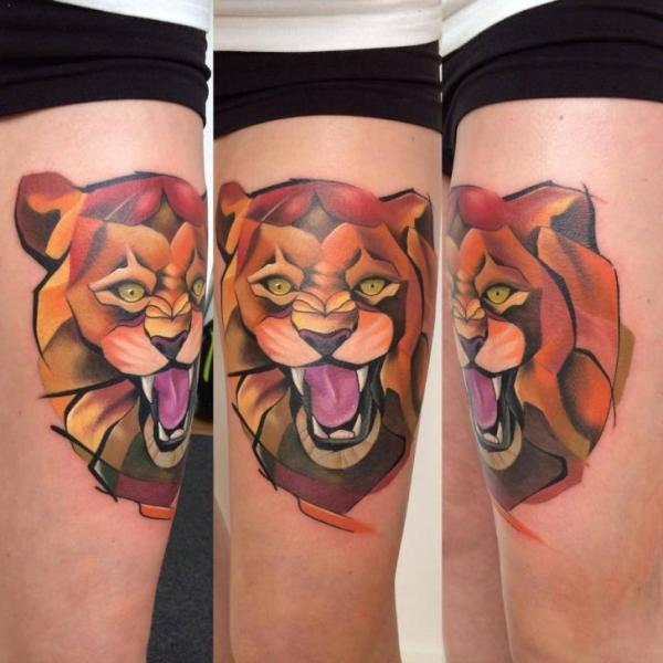Lion Thigh Tattoo by Mefisto Tattoo Studio