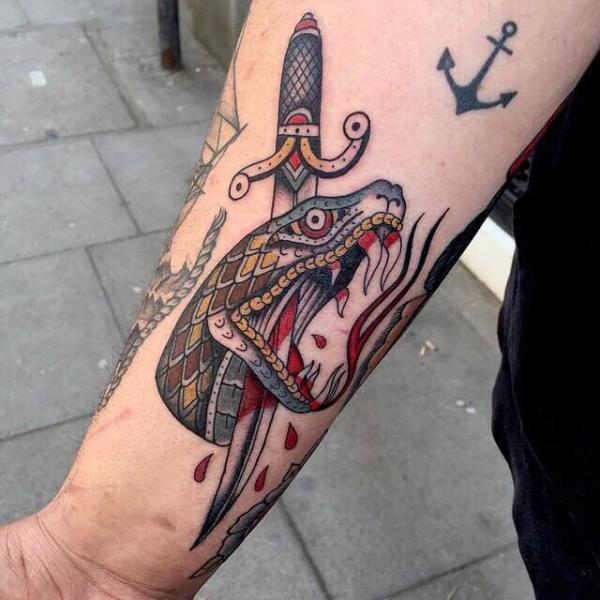 Arm Snake Old School Dagger Tattoo by Cloak and Dagger Tattoo