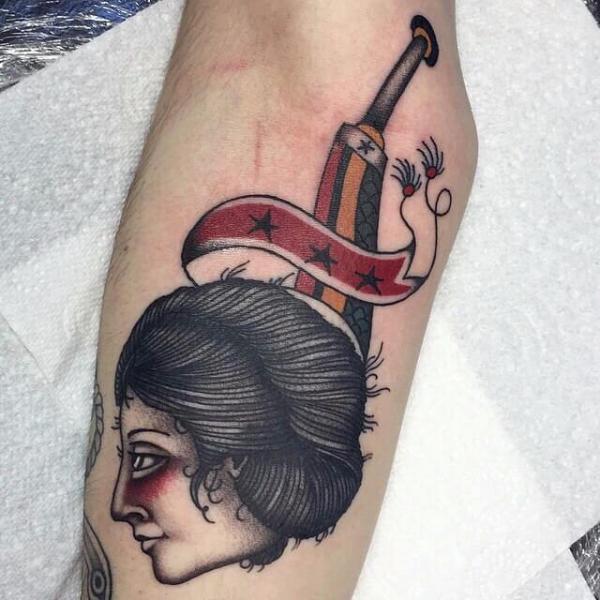 Arm Old School Dagger Woman Tattoo by Cloak and Dagger Tattoo