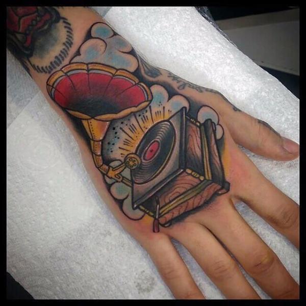 Hand Gramophone Tattoo by Cloak and Dagger Tattoo