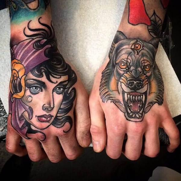 New School Hand Wolf Gypsy Tattoo by Cloak and Dagger Tattoo