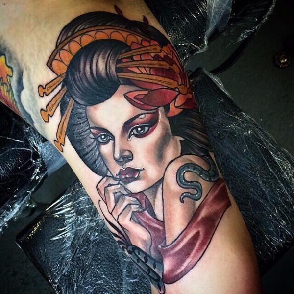 Portrait New School Geisha Tattoo by Cloak and Dagger Tattoo