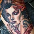 Portrait New School Geisha tattoo by Cloak and Dagger Tattoo