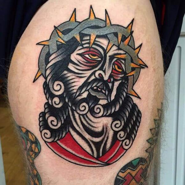 Old School Religious Tattoo by Cloak and Dagger Tattoo