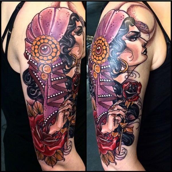 Shoulder New School Gypsy Tattoo by Cloak and Dagger Tattoo