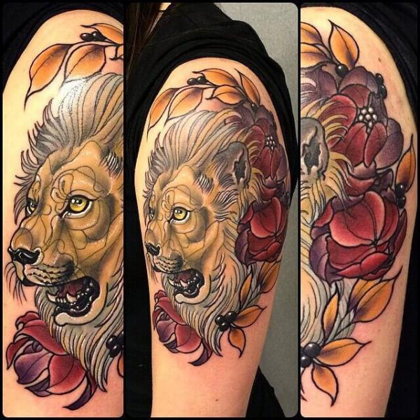 Shoulder Lion Tattoo by Cloak and Dagger Tattoo