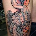 New School Thigh Swan tattoo by Cloak and Dagger Tattoo