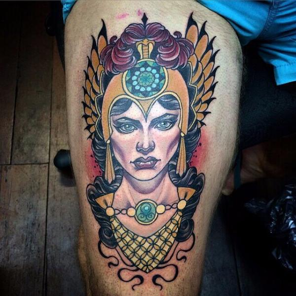 New School Thigh Woman Tattoo by Cloak and Dagger Tattoo
